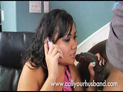 نقاش, زوجها, تنيك زوجها, تتكلم فى التلفون, تليفون, الهاتف
