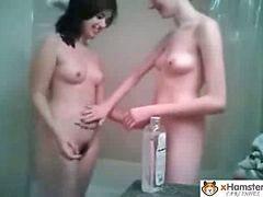 Lesbian play 5, Lesbian bathroom, Playing lesbian, Playing in the bathroom, Play in, Skinny lesbians