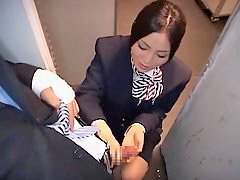 Handjob, Stewardess, Airplane, Asian hot, Asian