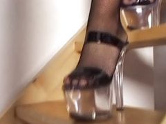 High heels, Heels, Double penetration, Lingerie, Double anal